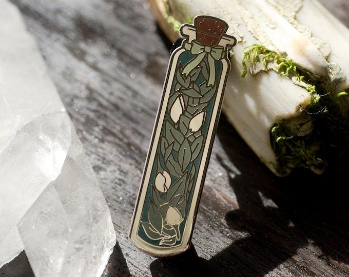 Green Witch Bottle of Herbs Enamel Pin