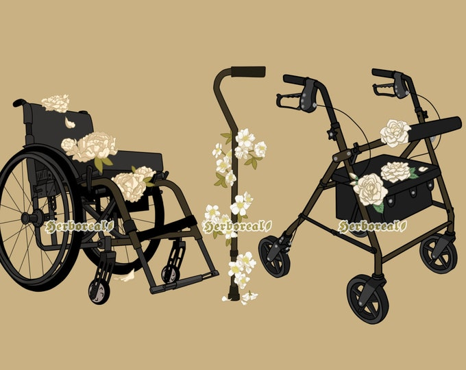 Floral Mobility Aid Clear Stickers Olive