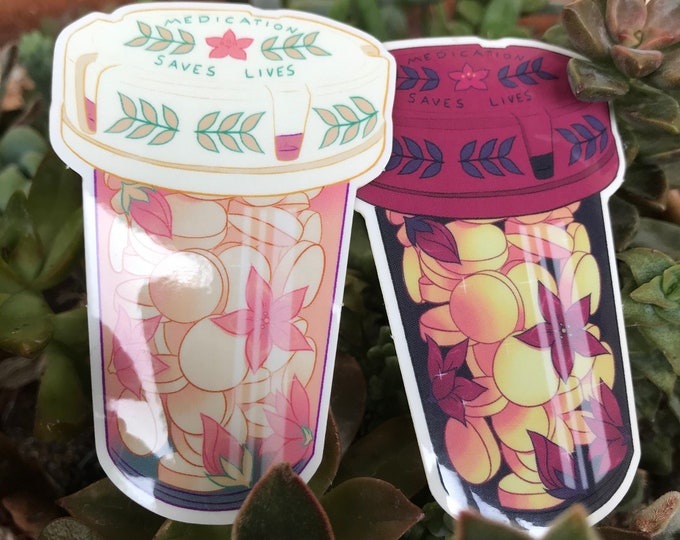 Floral Pill Bottle Clear Stickers