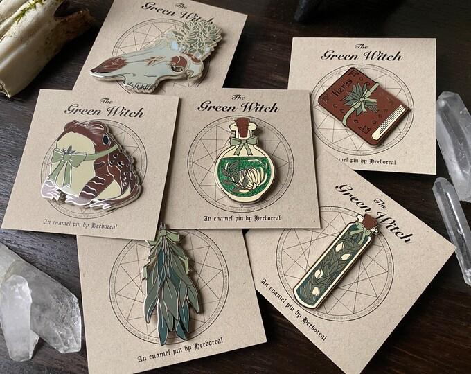 Green Witch Enamel Pin Set of 6