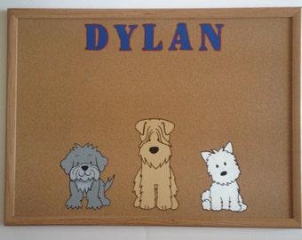 Puppy Dog Bulletin board - Cork Board - 17 x 23; Personalized; Handpainted