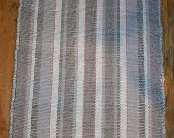 Handmade, Handwoven Cotton Rag Rug - Grey - Inv. ID# 03-0271