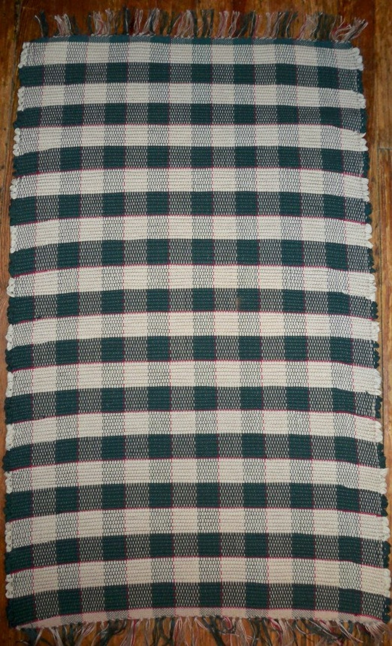 Traditional Gingham Patterned Rag Rug  Handwoven  Green image 0