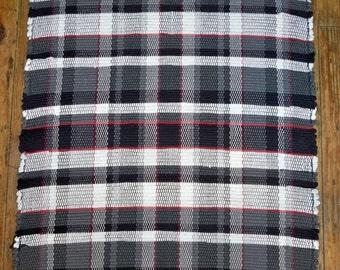 Handwoven Plaid Rag Rug - Highland Pattern - Black, Grey, White, Red - Inv. ID#03-0171