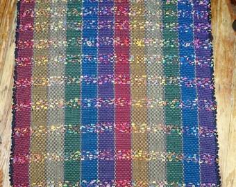 """Handwoven Rag Rug - """"Eclipse"""" Design - Black w/ Bright Multi Stripes (Inv .ID #03-0118)"""