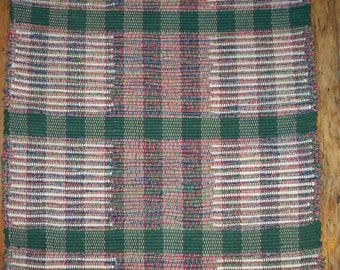 Handwoven Rag Rug, Original Pattern - Dark Green, Red, Cream (Inv. ID #03-0861)