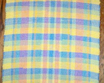 Handwoven Rag Rug - Pastel Yellow, Rose, Blue, Green - Handwoven Functional Art (Inv. Id #03-0561)
