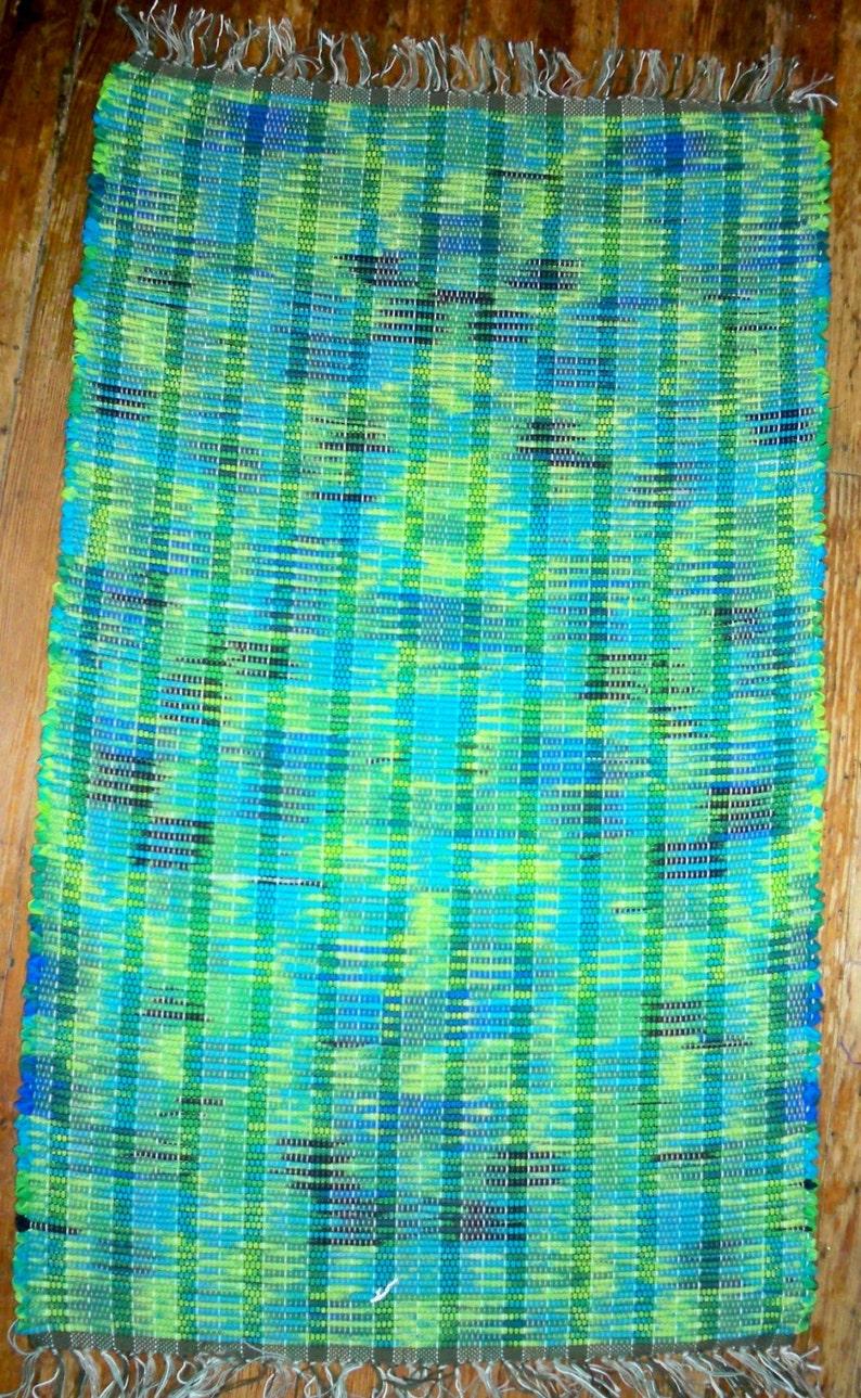 Handwoven Rag Rug  Lime Turquoise Inv. Id 07-0561 image 0