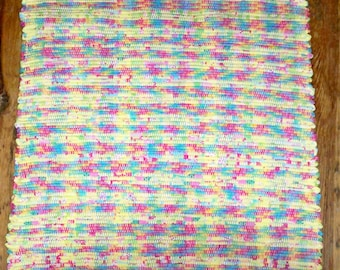 Handwoven Rag Rug - One of a Kind - Yellow Multi - Inv. ID #02-0871