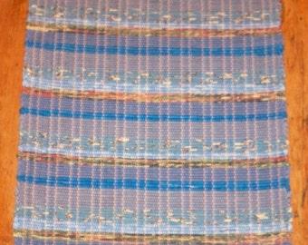 100% Cotton Rag Rug - Handwoven - Blue Multi Stripes (Inv. ID# 01-1061)
