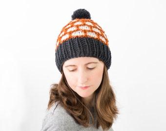 Colorwork Winter Hat, Women's Fitted Wool Textured Beanie, Winter Toque - Riprap Hat
