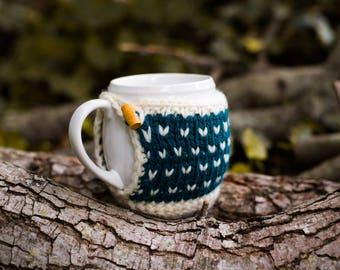 Mug Cozy, Knitted Coffee Mug Cozy, Fair Isle Mug Cozy, Hand Knit Cozy, Housewarming Gift, Hostess Gift, Coffee Cup Cozy