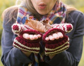 Convertible Fingerless Mittens, Hand Knit Flap Mittens, Women's Winter Accessory, Fingerless Knitted Wool Convertible Gloves