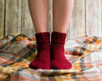 Wool Knit Socks, Women's House Socks, Thick Wool Socks, Knitted House Socks, Hand Knit Women's Socks, Medium Socks, Cozy Socks, Red Socks