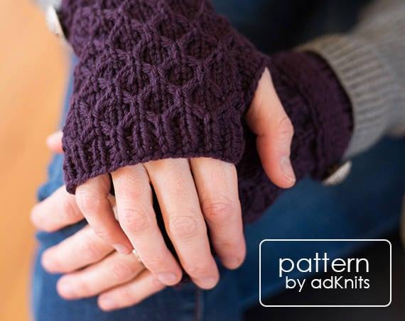 Fingerless Mitten Knitting Pattern Fingerless Glove Knitting Etsy