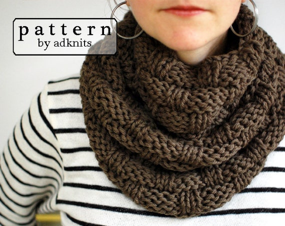 Basket Weave Infinity Scarf Knitting Pattern Chunky Cowl Pdf Etsy