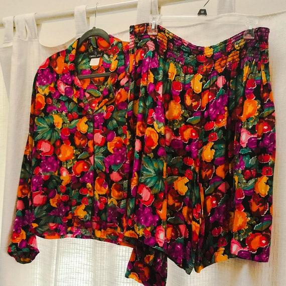 Vintage Carole Little Two Piece Outfit Jacket Blou
