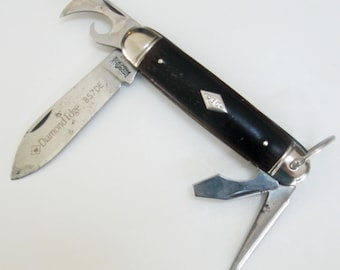 Vintage Pocket Knife Diamond Edge DE Folding Utility Imperial 4 Blade 857