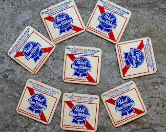 Vintage Beer Coasters Pabst Blue Ribbon Brewing Company Milwaukee Wisconsin Set of Eight