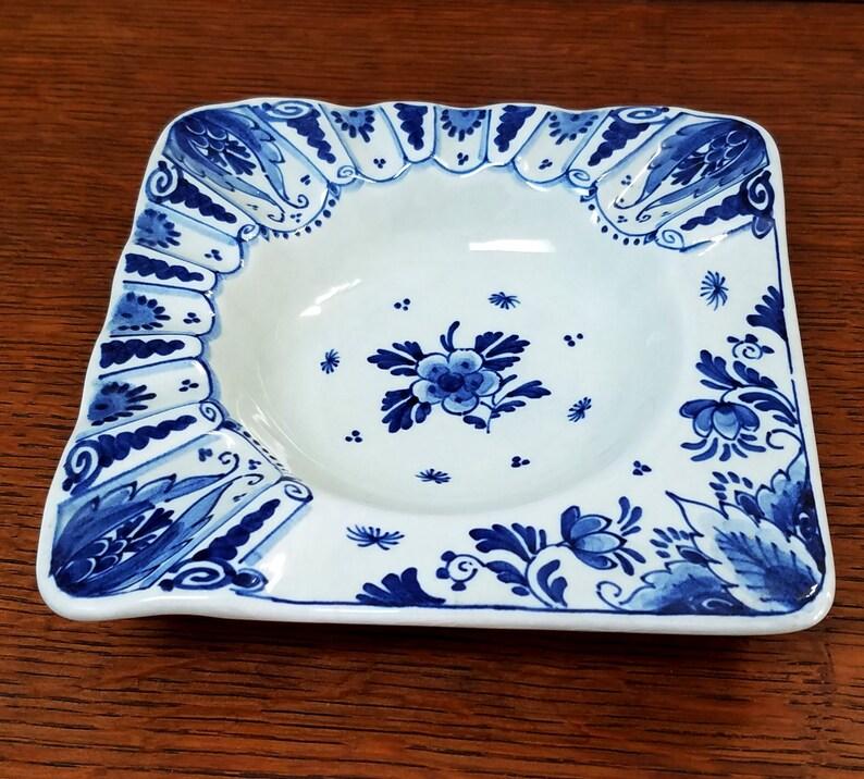 Vintage Royal Delft Ashtray De Porceleyne Fles Cobalt Blue Floral Blue and White 1950s