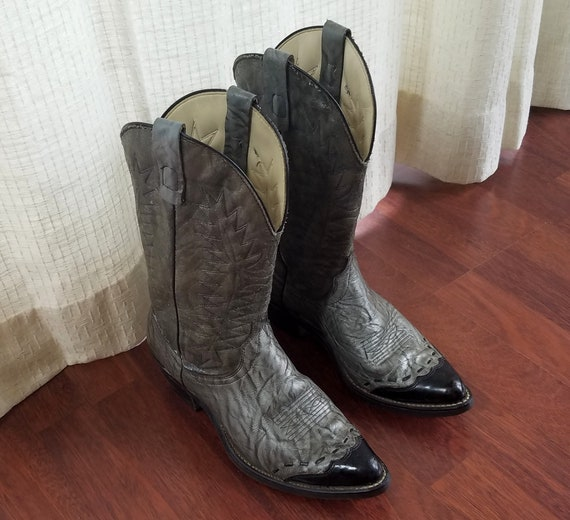 Vintage Cowboy Boots Laredo Mens 8.5 D Gray Leathe