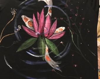 Wearable art Lotus flowers and koi