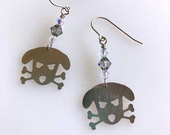 Outlaw Doggy Holmes Swarovski Crystal Stainless Steel Earrings, Skull & Cross Bone Dog Earrings, Mini Metal Dangle Dog Earrings