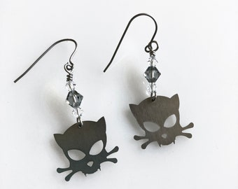 Outlaw Kitty Stainless Steel Earrings with Swarovski Crystals, Kitty Skull and Crossbone, Mini Cat Lover Jewelry, Metal Cat Earrings