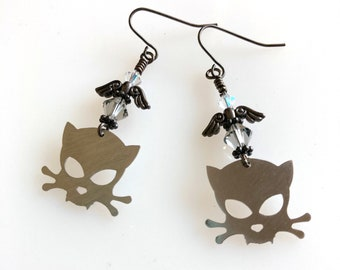 Outlaw Kitty Stainless Steel Winged Earrings with Swarovski Crystals, Kitty Skull and Crossbone, Mini Cat Lover Jewelry, Metal Cat Earrings
