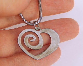 Spiral Heart Stainless Steel Mini Charm Necklace by WATTO Distinctive Metal Wear, Love Jewelry, Romantic Gift, Mini Heart Charm on Chain