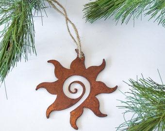 Sun Metal Ornament by WATTO Distinctive Metal Wear, Christmas Ornament, Christmas Gift, Spiral Sun,  Southwest Decor, Housewarming Gift