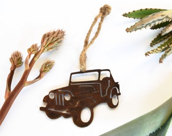 Off Road Vehicle Rusty Metal Ornament, Christmas Ornament, General Purpose Vehicle, Four-Wheel Drive Vehicle, G.P. Vehicle, 4x4, 4WD