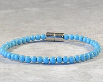 Turquoise Magnet Bracelet for Women, Magnetic Ankle Bracelet, Magnetic Hematite Anklet, Arthritis Jewelry, Magnetic Clasp, Hematite Bracelet