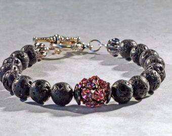 Essential Oil Bracelet for Women, Lava Bead Bracelet, Lava Stone Diffuser Jewelry, Aromatherapy Jewelry, Pink Rhinestone Jewelry