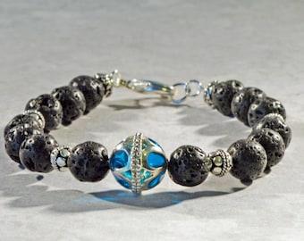Essential Oil Bracelet, Lava Bead Bracelet, Lava Diffuse Bracelet, Oil Diffuse Jewelry, Natural Lava Stone Jewelry, Aromatherapy Jewelry