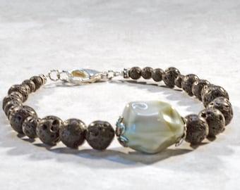 Essential Oil Jewelry for Women, Lava Bead Diffuser Bracelet, Volcanic Lava Bead Jewelry, Aromatherapy Jewelry, Green Nugget Bracelet