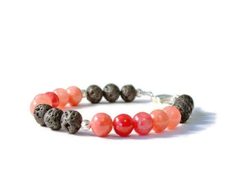 Aromatherapy Bracelet, Red Quartzite and Natural Lava Stones, Diffusing Jewelry