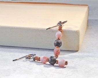 Essential Oil Earrings, Lava Rock Earrings, Essential Oil Jewelry, Aromatherapy Gift, Dangle Earrings, Lever Back Earrings, Pink Czech Glass