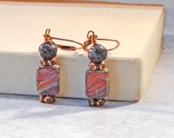 Essential Oil Earrings, Lava Bead Earrings, Diffuser Jewelry, Lava Stone Jewelry, Dangle Earrings, Lever Back Earrings, Czech Glass Earrings