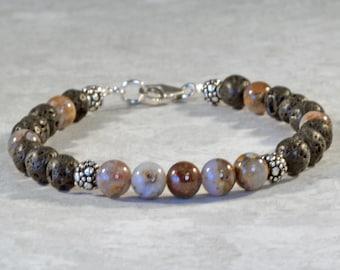 Essential Oil Diffuser Bracelet, Lava Rock Jewelry, Aromatherapy Inhaler Bracelet, Lava Bead Anklet, Pietersite Bracelet