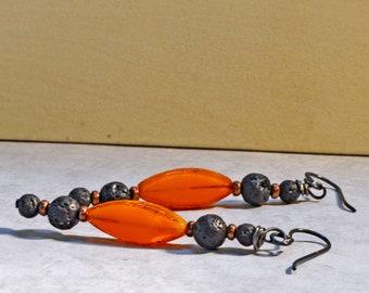 Lava Rock Earrings, Earrings for Essential Oils, Aromatherapy Lava Bead Earrings, Orange Czech Glass Earrings, Dangle Earrings