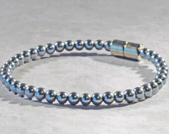 Magnetic Bracelet, Azure Pearl Hematite, Hematite Jewelry for Women, Magnetic Therapy Bracelet, Magnetic Clasp Jewelry, Ankle Bracelet