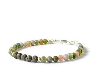 Fancy Jasper and Lava Stone Diffuser Bracelet, Aromatherapy, Essential Oil Jewelry