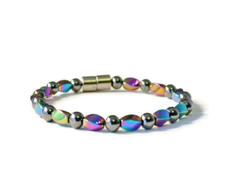 Jewelry for Pain Black High Power and Rainbow Hematite Disability Friendly Magnetic Clasp Magnetic Bracelet