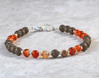 Essential Oil Diffuser Bracelet for Women, Aromatherapy Jewelry, Volcanic Lava Bead Bracelet, Personal Diffuser Bracelet, Red Agate Jewelry