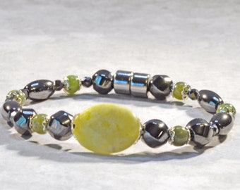 Magnetic Hematite Bracelet, Magnetic Jewelry, Magnet Bracelet for Women, Hematite Jewelry, Magnetic Bracelet, Nephrite Jade Jewelry