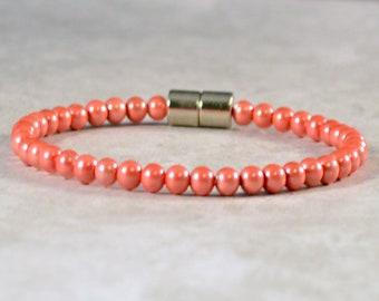 Magnetic Bracelet for Women, Magnetic Therapy Jewelry, Arthritis Bead Bracelet, Ankle Bracelet, Stacking Bracelet, Red Hematite Bracelet