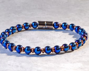 Magnetic Bracelet for Woman, Blue Metallic Magnet Bracelet, Pearl Hematite Jewelry, Arthritis Bracelet, Health Jewelry, Magnetic Clasp