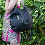 Reserved for Sandi - DOUBLE STRAP URSULA with Zipper Closure - Oversized - Black Leather Bag - Pebble Black