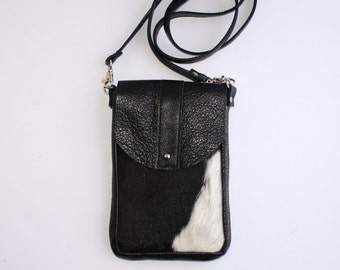 DAKOTA Cowhide Crossbody Bag - Boho Black Leather Bag - Messenger Bag Women - Festival - Small Bag - Black and White - Unique Handmade Purse